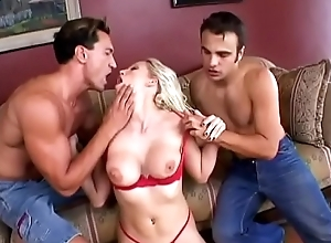 Hot blonde with nice boobs Nicki Hunter gets the brush cunt and asshole fucked by two big dicks
