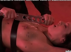 Hot babe tied and tortured with wax, zapped and spanked by old guy