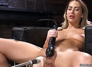 Blonde has orgasms insusceptible to bonking machine