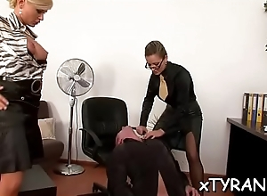 Serf licks mistress'_ feet and gets whipped hard in sexy bdsm