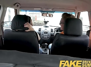 Fake Driving School Big tits Spanish learner loves sucking and changeless fucking