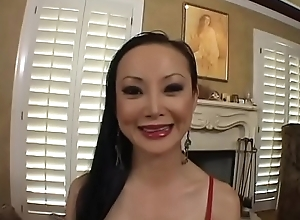 Hot asian MILF with perfect round gut Ange Venus rides obese dick on the couch