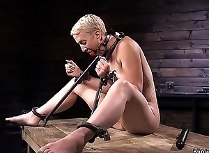 Blonde in ankle suspension whipped
