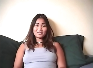 Sweet tit Asian chick Sami Moon dildos twat and gets fucked by horny dude in bed