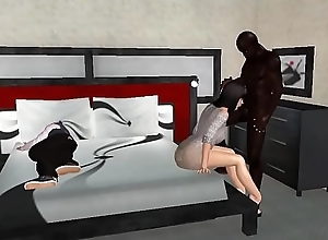 My wife Gina having sex with a young black guy in front of me. ( 3d avatar ) animation