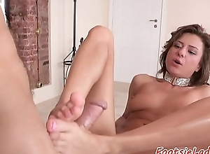 Pussyfucked feet loving babe gets drilled