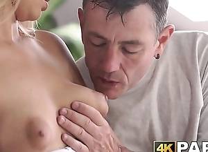 Young cheater receives rough anal thrusts at the end of one's tether older man dick