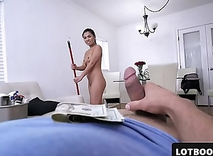 Sexy big ass asian maid gets doggystyle fucked for money