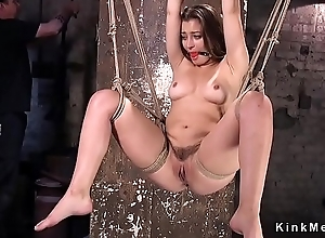 Hogtied brunette gets pussy rubbed