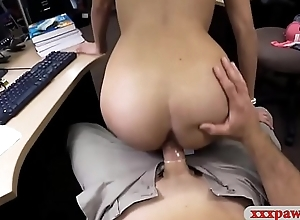 Coed with glasses drilled by pawn dude on tap the pawnshop