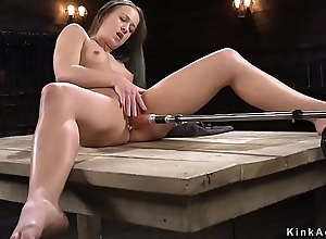 Hot bore brunette fucking machine