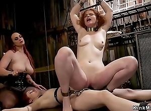 Mistress whips and anal fucks two slaves