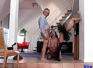 European petite doggystyle banged by grandpa