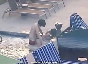 Couple caught fucking in the hotel jacuzzi
