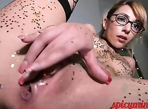 Blonde Doll gets wet and Glittery