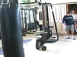 Curly teen is fucked hard in gym