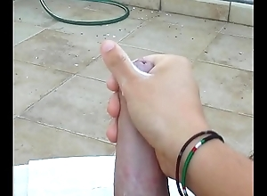 HUGE CUMSHOT in POV on balcony