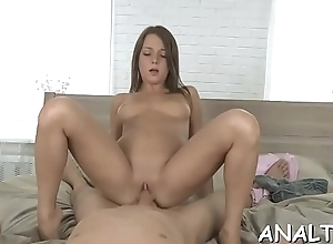 Having dudes thick pecker in her a-hole gap excites beauty