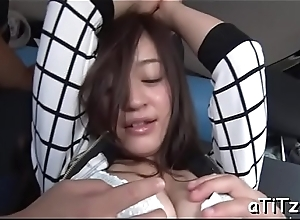 Lovely japanese with beautiful knockers delights with oral sex