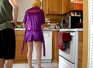 Mature stepmom fucked in the air the kitchen