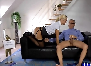 Young UK babe tugging oldmans dong