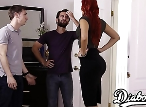 Busty redhead gets doggystyled close to by husbands friend