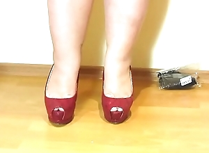 Erotic foot fetish from beautiful bbw. Nylon, high-heeled shoes and a pedicure.