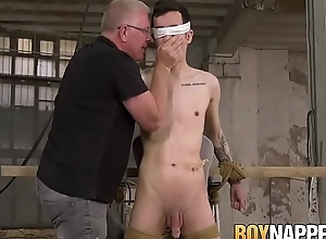 Smooth twink gets bound and blown by perverted age-old man