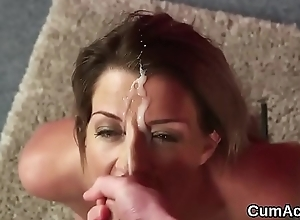 Flirty looker gets cum load beyond her face gulping all the love juice