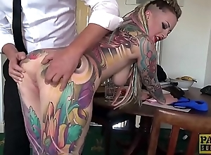Fully tattooed subslut Piggy Mouth slammed by imprecise dom