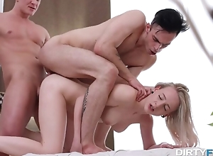 Girl is already prepared to get double penetrated by friends