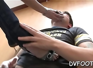 Chick enjoys foot fetish grinding dick and balls with feet