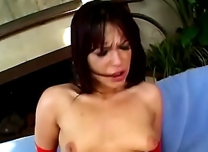 Hot MILF in red gloves and lingerie Shayna Knight gets her pussy and asshole fucked by three cocks