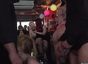 Mistress and slave fucking in public
