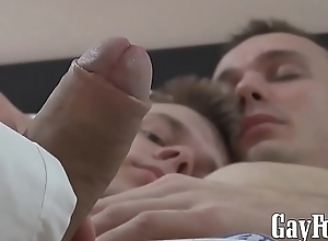Hardcore bareback dick riding with two homosexual twinks