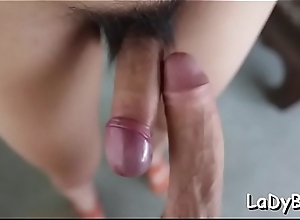 Asian ladyboy bitch gets her anal treated hard by a man
