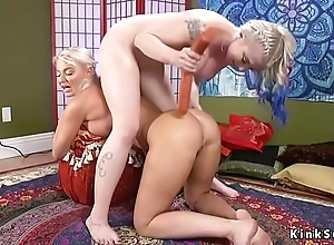 Peaches lesbians anal toying in bondage