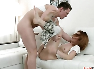 Teen stepsister facefucked before cockriding