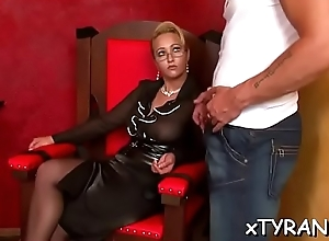 Wicked mistress humiliates attendant in some femdom fetish act