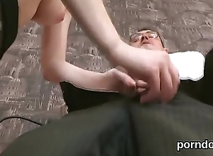 Fervid college girl gets teased and fucked by senior teacher