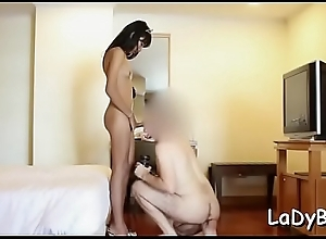 Thai tranny whore cannot get enough of the big cock in a-hole