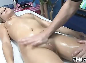 X 18 year old babe gets fucked lasting from behind by her massage psychotherapist