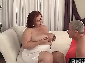 Busty BBW Lady Lynn Blows and Tit Fucks a Guy and Then Screws Him
