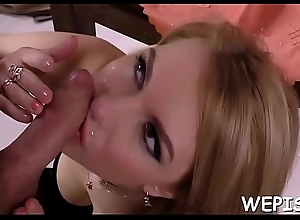 Ludicrous floozy is pissing nearby her mouth while her bf is fucking her