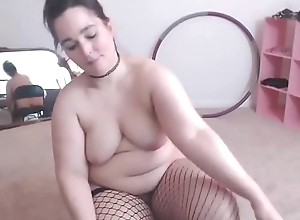 Hot hairy bbw masturbate in sexy stockings