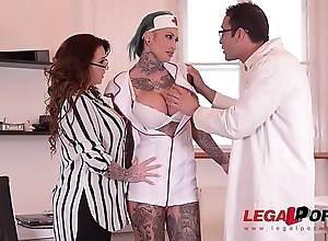 Tattooed Nurses Calisi Ink &amp_ Harmony Reigns Fucked By Brit Patient At Dispensary GP098