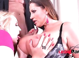 Laura Orsolya &amp_ Angel Wicky Sway Their Big Boobs in Titty Fuck Threesome GP097