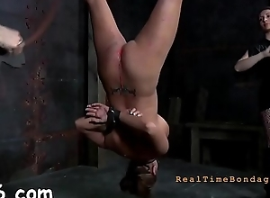 Gagged cutie receives violent whipping on her love melons